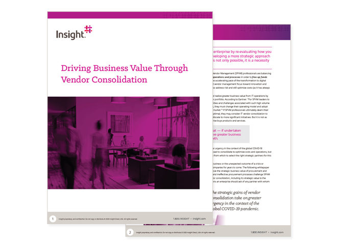 Cover image for Insight's Driving Business Value Through Vendor Consolidation whitepaper available to downlod from the link below