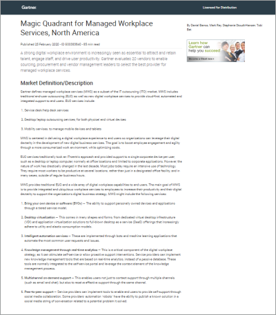 Gartner's 2020 Magic Quadrant for Managed Workplace Services, North America report cover