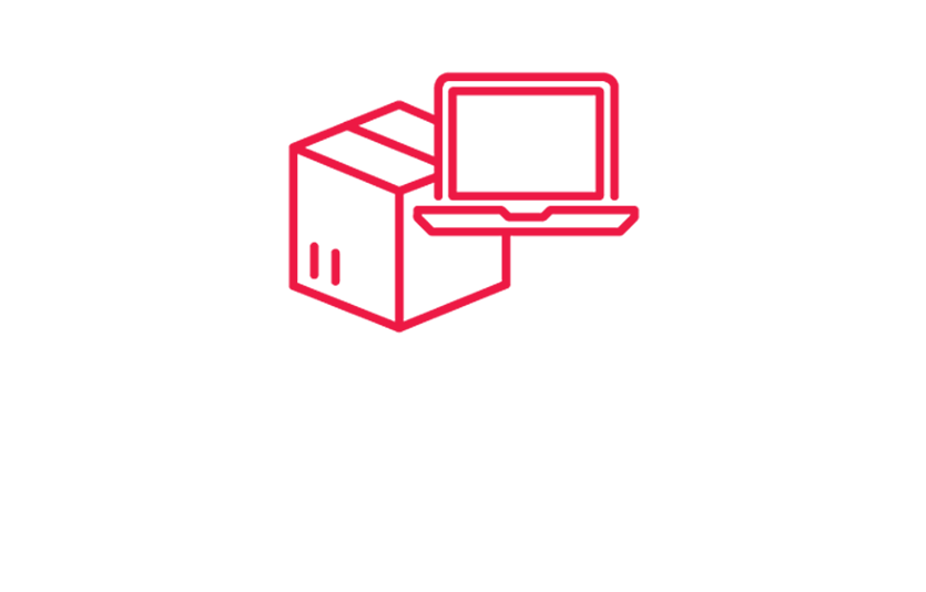 Illustrated icon of laptop computer over box