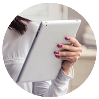 Female holding apple tablet in hand