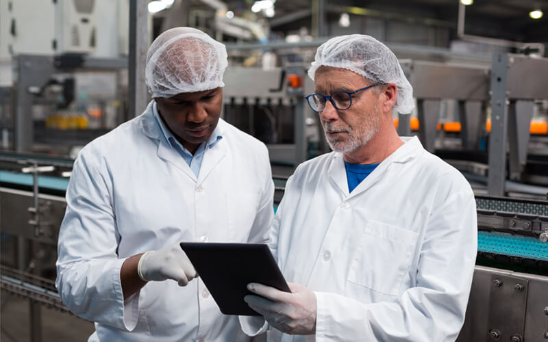 Two food manufacturers on tablet device