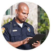 Police officer on tablet device