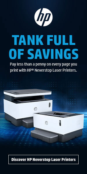 Ad: HP Neverstop Laser Printers. Learn more