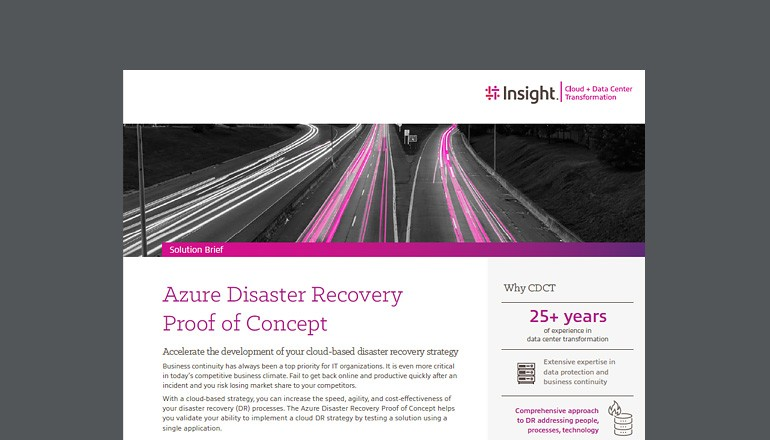 Cover view of Azure Disaster Recovery proof of concept solution brief that is available to download below