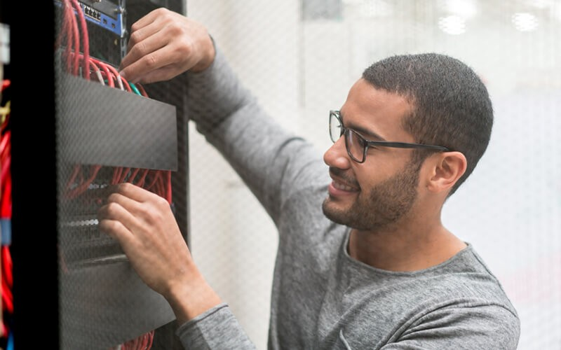 IT engineer working in data center